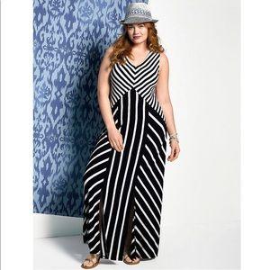 Lane Bryant Striped Maxi Dress Sz 14/16 NWT